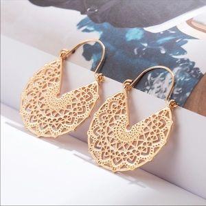 Jewelry - Chantilly Lace Gold Bohemian Dangle Drop Earrings